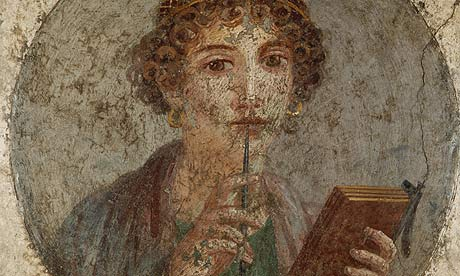 Detail from Pompeiian fresco painting of Sappho holding a stylus. Photograph: Mimmo Jodice/Corbis