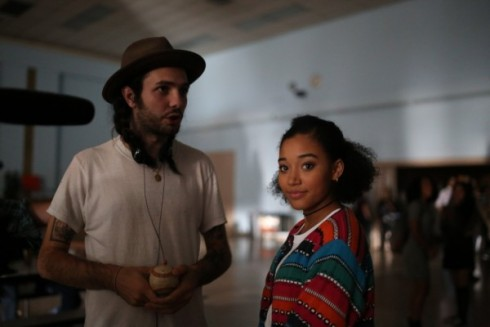 """Director Miles Joris-Peyrafitte with one of his stars, Amandla Stenberg, on the set of """"As You Are"""" (Photo courtesy YouthFX)"""