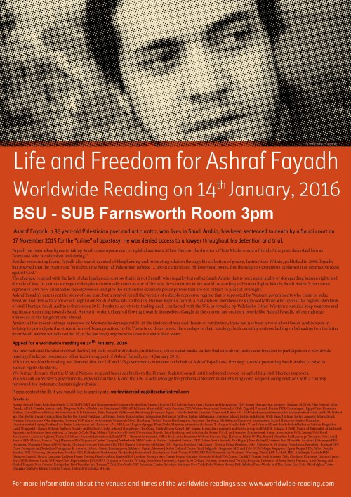 Poster Worldwide Reading Ashraf Fayadh